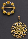 Estate Jewelry:Other , Gold & Pearl Pendant & A Gold & Citrine Pin. ...(Total: 2 Items)