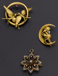 Estate Jewelry:Other , Three Early 14k Gold Pins. ... (Total: 3 Items)