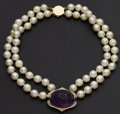 Estate Jewelry:Pearls, Carved Cabochon Amethyst Gold & Cultured Pearl Necklace. ...