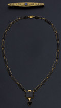 Estate Jewelry:Other , Antique Gold Bar Pin & Black Onyx Necklace. ... (Total: 2Items)