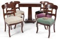 Furniture : American, AN AMERICAN EMPIRE-STYLE HALL TABLE WITH SIX SIDE CHAIRS . 19thcentury . 33 inches high x 18 inches wide x 17-1/2 inches d...(Total: 7 Items)