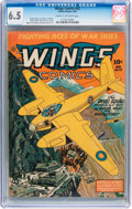 Golden Age (1938-1955):War, Wings Comics #42 (Fiction House, 1944) CGC FN+ 6.5 Cream tooff-white pages....