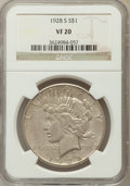 Peace Dollars: , 1928-S $1 VF20 NGC. NGC Census: (8/4359). PCGS Population (1/5833).Mintage: 1,632,000. Numismedia Wsl. Price for problem f...