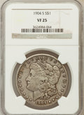 Morgan Dollars: , 1904-S $1 VF25 NGC. NGC Census: (51/1450). PCGS Population(70/2299). Mintage: 2,304,000. Numismedia Wsl. Price for problem...