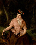 Fine Art - Painting, European, WILLIAM POWELL FRITH (British, 1819-1909). Seated Woman with Jug. Oil on board. 17-1/2 x 14 inches (44.5 x 35.6 cm). Sig...