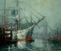Fine Art - Painting, American, GEORGE THOMPSON PRITCHARD (American, 1878-1962). HarborScene. Oil on canvas. 25 x 30 inches (63.5 x 76.2 cm). Signedlo...