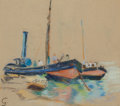 Fine Art - Painting, European, Attributed to JEAN-BAPTISTE-ARMAND GUILLAUMIN (French, 1841-1927). Shipyard Scene. Pastel on board. 11 x 12-1/2 inches (...