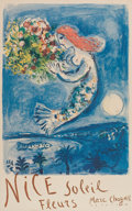 Prints:European Modern, MARC CHAGALL (Belorussian, 1887-1985). Nice: soleil fleurs,1962. Color lithographic poster. 38 x 24 inches (96.5 x 61.0...