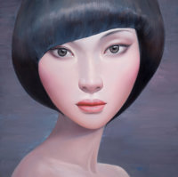 CHINESE SCHOOL (20th Century) Portrait of a Girl Acrylic on canvas 39-1/4 x 39 inches (99.7 x 99
