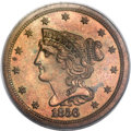 Proof Braided Hair Half Cents, 1856 1/2 C PR63 Red and Brown PCGS. B-1, R.7 as proof....