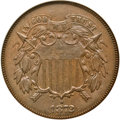 Two Cent Pieces, 1872 2C AU58 NGC. CAC. FS-101....
