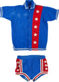 Basketball Collectibles:Uniforms, 1960's Harlem Stars Game Worn Shooting Jacket and Shorts. ...