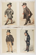 Books:Prints & Leaves, Group of Four Vanity Fair Caricature Portraits. 1870-1872. Approx.14 x 9 inches. Commentary pages included. All very good o...