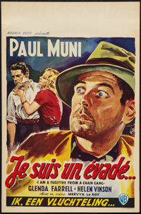 "I Am a Fugitive from a Chain Gang (Warner Brothers, R-1950s). Belgian (14"" X 21.5""). Film Noir"