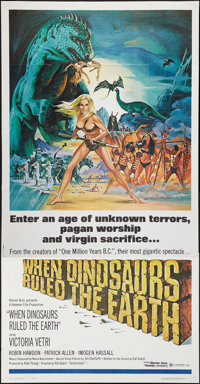 """When Dinosaurs Ruled the Earth (Warner Brothers, 1970). Three Sheet (41"""" X 80""""). Fantasy"""