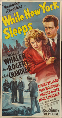 "While New York Sleeps (20th Century Fox, 1938). Three Sheet (41"" X 78""). Crime"