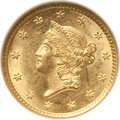 Gold Dollars: , 1854 G$1 Type One MS62 NGC. NGC Census: (1213/900). PCGS Population(502/537). Mintage: 855,502. Numismedia Wsl. Price for ...