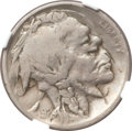 Errors, 1924 5C Buffalo Nickel -- Double Struck, Rotated in Collar, Scratches -- NGC Details. Fine....