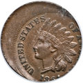 Errors, 1864 1C L On Ribbon Indian Cent -- Struck 20% Off Center -- MS64 Brown PCGS....