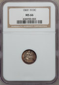 Seated Half Dimes, 1860 H10C MS66 NGC....
