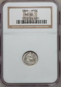 Seated Half Dimes, 1864 H10C MS64 NGC....