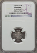 Early Half Dimes, 1800 H10C -- Scratches -- NGC Details. VF Details. V-1, LM-1,R.3....