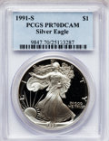 Modern Bullion Coins: , 1991-S $1 Silver Eagle PR70 Deep Cameo PCGS. PCGS Population (284).NGC Census: (494). Mintage: 511,925. Numismedia Wsl. Pr...