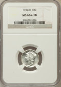 Mercury Dimes, 1934-D 10C MS66 ★ Full Bands NGC. NGC Census: (26/10). PCGSPopulation (125/35). Mintage: ...
