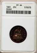 Proof Seated Quarters, 1881 25C PR64 ANACS....