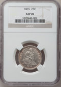 Seated Quarters, 1865 25C AU58 NGC....