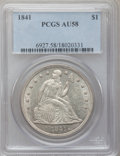 Seated Dollars, 1841 $1 AU58 PCGS....