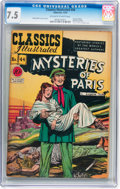 Golden Age (1938-1955):Classics Illustrated, Classics Illustrated #44 Mysteries of Paris - First edition(Gilberton, 1947) CGC VF- 7.5 Off-white to white pages....