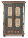Furniture : Continental, AN AUSTRIAN PAINTED WOOD ARMOIRE . Circa 1820. 71-1/2 inches high x53 inches wide x 24-1/4 inches deep (181.6 x 134.6 x 61.... (Total:2 Items)