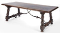 Furniture : Continental, A SPANISH RENAISSANCE STYLE WOOD GUARD'S TABLE WITH IRON STRETCHER. 19th century (in part). 30 inches high x 90-1/2 inches ...