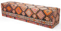 Furniture , A KILIM UPHOLSTERED BENCH . 20th century . 19 inches high x 79 inches long x 19 inches wide (48.3 x 200.7 x 48.3 cm). ...