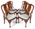 Furniture , A SET OF SIX GEORGE II STYLE WALNUT DINING CHAIRS . Late 19th century . 41-1/2 inches high x 23 inches wide x 18 inches deep... (Total: 6 Items)