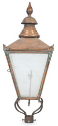Miscellaneous, AN AMERICAN COPPER AND GLASS LANTERN . 20th century . 41 incheshigh x 16-1/2 inches wide x 16-1/2 inches deep (104.1 x 41.9...