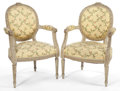 Furniture : French, A PAIR OF LOUIS XVI STYLE WOOD AND UPHOLSTERED ARM CHAIRS . 19thcentury . 36 inches high x 23-3/4 inches wide x 21 inches d...(Total: 2 Items)