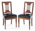 Furniture : French, A PAIR OF FRENCH JACOB FRÈRES EMPIRE WALNUT SIDE CHAIRS . Paris,France, circa 1829. Marks: (partial paper label) Chateau ...(Total: 2 Items)