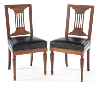 A PAIR OF FRENCH JACOB FRÈRES EMPIRE WALNUT SIDE CHAIRS Paris, France, circa 1829 Marks: (partial paper label)