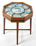Asian:China Trade, A CANTON ENAMEL ON COPPER SWEETMEAT SERVICE WITH CONTINENTALMAHOGANY AND GLASS STAND . Mid 19th century . Marks: (pseudo Eu...(Total: 11 Items)