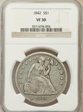 Seated Dollars: , 1842 $1 VF30 NGC. NGC Census: (15/419). PCGS Population (27/507).Mintage: 184,618. Numismedia Wsl. Price for problem free ...