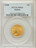 Indian Half Eagles: , 1908 $5 MS64 PCGS. PCGS Population (755/225). NGC Census:(838/162). Mintage: 577,800. Numismedia Wsl. Price for problemfr...