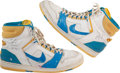 Basketball Collectibles:Others, Late 1980's Chuck Person Game Worn, Signed Shoes....