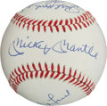 Baseball Collectibles:Balls, 1961 New York Yankees Multi Signed Reunion Baseball (9Signatures)....