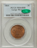 Two Cent Pieces: , 1864 2C Large Motto MS64 Red and Brown PCGS. CAC. PCGS Population(916/301). NGC Census: (523/663). Mintage: 19,847,500. Nu...