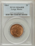 Two Cent Pieces: , 1864 2C Large Motto MS64 Red and Brown PCGS. PCGS Population(916/301). NGC Census: (523/663). Mintage: 19,847,500. Numisme...