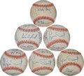 Baseball Collectibles:Balls, New York Yankees Stars Multi Signed Baseballs Lot of 6....