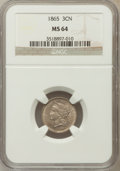 Three Cent Nickels: , 1865 3CN MS64 NGC. NGC Census: (531/147). PCGS Population(499/133). Mintage: 11,382,000. Numismedia Wsl. Price forproblem...