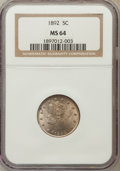 Liberty Nickels: , 1892 5C MS64 NGC. NGC Census: (133/88). PCGS Population (192/107).Mintage: 11,699,642. Numismedia Wsl. Price for problem f...